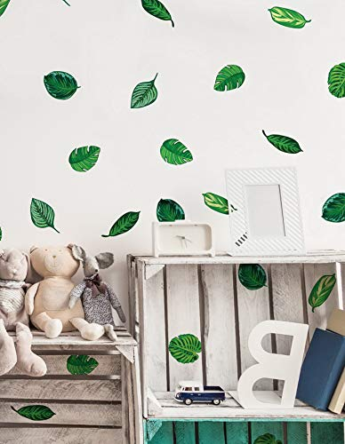 Kaputar Set of 48 Tropical Plant Leaves Wall Decal, Hawaiian Beach Theme Decor. Great for Birthdays, Prom, Events #6094m | Model WDDNG -1276 | Set of 48 Leaves]()
