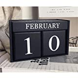 Obling Wood Blocks Perpetual Calendar Desk Accessory Chic Day Month Number for Home and Office (Black)