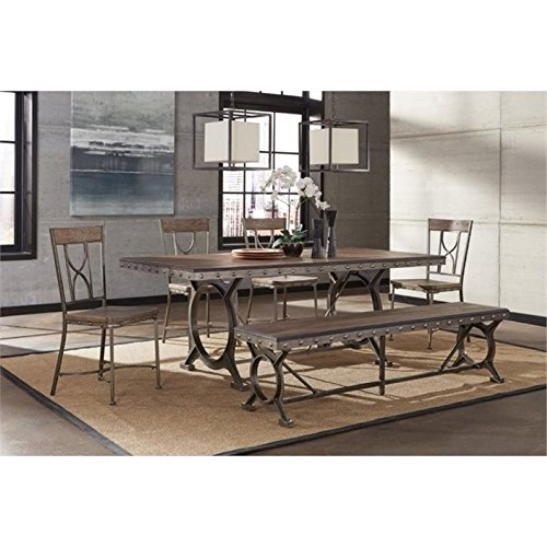 Bowery Hill 6 Piece Dining Set in Brown Gray