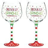 (Set/2) Drink Up Grinches Wine Glasses Festive Holiday Party Drinkware 20 Oz