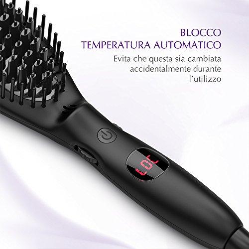 USpicy Cepillo Alisador Plancha Térmica iones negativos para el pelo con botón de control de la temperatura (Calentamiento Rápido, Cuaderno Temperatura y ...