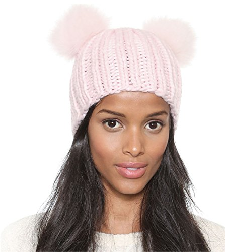 Womens Cute Double Pom Pom Cabled Woolen Knitted Winter Beanie Hats Caps