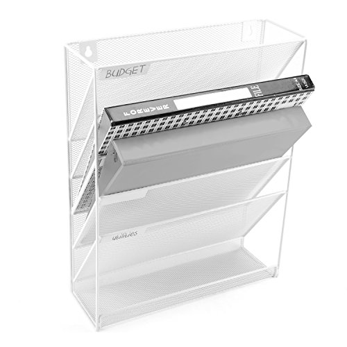 Wall-Mounted Magazine Rack, 5 Slot Hanging Document Filing System, White