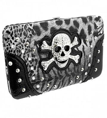 Amazon.com: Cráneo Rhinestone cartera de impresión leopardo ...