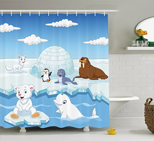 Ambesonne Kids Decor Shower Curtain, Image of Arctics Animals Polar Bears Seal Penguins Wolfs Whales Artwork, Fabric Bathroom Decor Set with Hooks, 70 Inches, Sky Blue and White (Artwork Polar Bear)