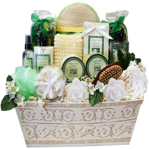 Jasmine Renewal Spa Relaxing Bath and Body Gift Basket Set, Large (Soap Gift Tin)