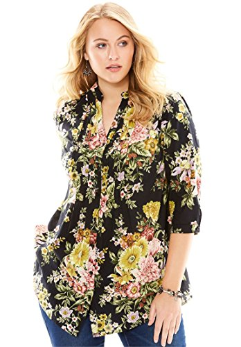 Roamans Women's Plus Size English Floral Tunic With Pintucks Black,28 W English Floral Print
