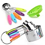 Stainless Steel Measuring Cups and Measuring Spoons Set – Silicone Handles, Engraved US & Metric Measurements – Dishwasher Safe Cooking and Baking Kitchen Gadgets + FREE Collapsible Funnel by TPQ Life
