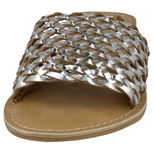 The Leather Collection Leather Collection, Damen Peep-Toe Silber