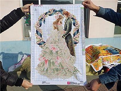 AIGUFENG Hecho a mano en punto de cruz producto feliz beso de la boda conjunto vida