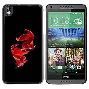 Planetar® ( Love Valentines Fish Black Pet Tropical ) HTC DESIRE 816 Fundas Cover Cubre Hard Case Cover