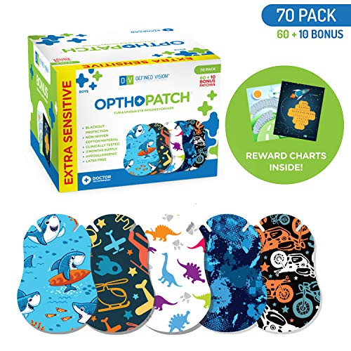 OPTHOPATCH Kids Eye Patches - Fun Boys Design - 60+10 Bonus Latex Free Hypoallergenic Cotton Extra Sensitive Adhesive Bandages for Amblyopia & Cross Eye-3 Reward Chart Posters by Defined Vision