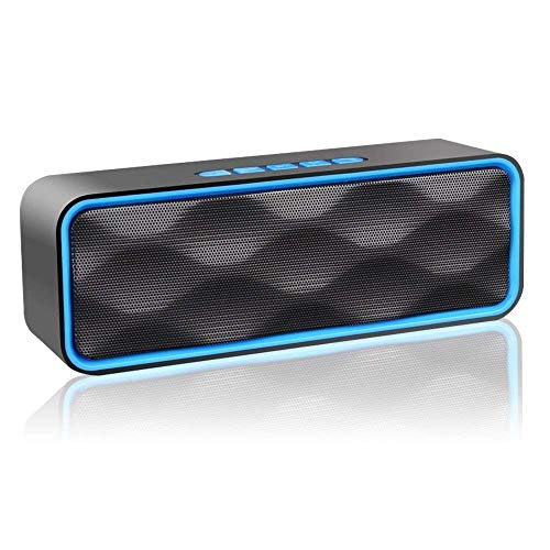 MANCASSY N7 Wireless Bluetooth Speaker, Outdoor Portable Stereo Speaker with HD Audio and Enhanced Bass, Built-In Dual Driver Speakerphone, FM Radio and TF Card Slot (Blue) by MANCASSY