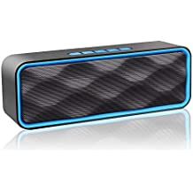 MANCASSY N7 Wireless Bluetooth Speaker, Outdoor Portable Stereo Speaker with HD Audio and Enhanced Bass, Built-In Dual Driver Speakerphone, FM Radio and TF Card Slot (Blue)