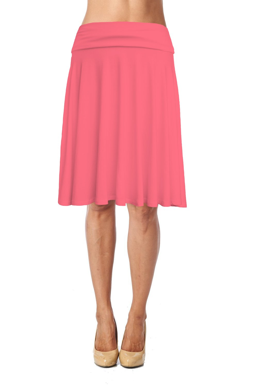 Jubilee Couture Womens Basic Soft Stretch Mid Midi Knee Length Flare Flowy Skirt Made in USA-Coral,1X