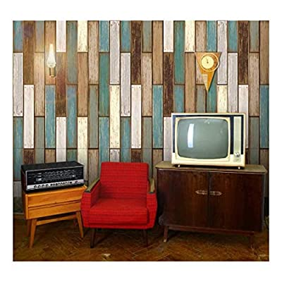 Vertical Retro Rich Earthy Colored Wood Textured Paneling Pattern - Wall Mural, Removable Wallpaper, Home Decor - 66x96 inches