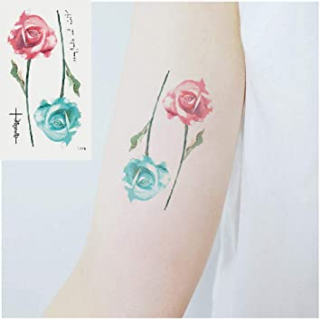 eda83fc5f Amazon.com : Oottati Small Cute Temporary Tattoos Stickers Red blue flower  (2 Sheets) : Beauty