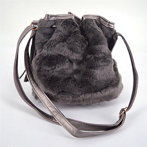 Bags Bag Bags Fluffy Crossbody Bucket Mini Fur Winter Faux LA Casual Grey Women Shoulder Light Drawstring HAUTE ITwqw6zxH