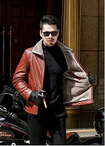 Moyen Veste Vêtements Affaires Manteau Fourrure Mouton En Age 001 Homme Peau Loisirs Moto Xsqr Xxxl Cuir dTqRad