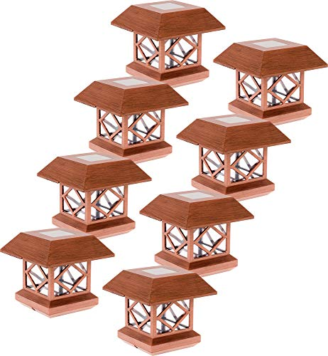 (GreenLighting Outdoor Summit Solar Post Cap Light for 4x4 Wood Posts 8 Pack (Brushed Copper))