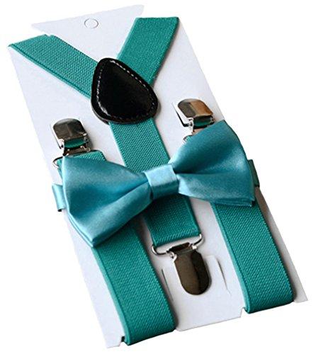 UDRES Unisex Kid Boys Girls Adjustable Bow tie & Suspender Sets (One Size, Teal) ()