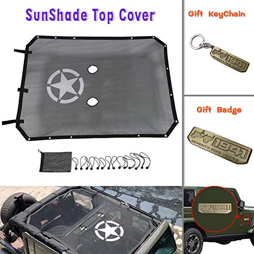 Sunshade Eclipse (Front Eclipse Sunshade and Sunshade Top Cover Mesh Soft Top UV Protection for Jeep Wrangler Jku Jk 4 Door (2007-2017))
