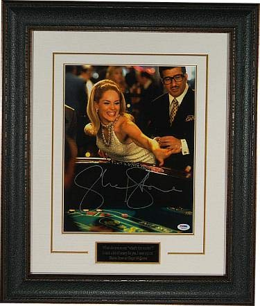 Sharon Stone signed Casino 11x14 Photo Premium Leather Framing w/Nameplate - ITP HOLOGRAM (Rolling Craps Dice) - PSA/DNA Certified from Hollywood Memorabilia