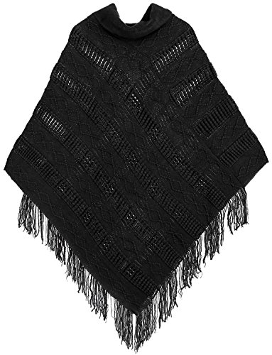 Livingston Women's Turtleneck Knitted Pullover Sweater Poncho Cape w/Tassel Trim, Black ()