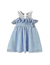 OCEAN-STORE Kids Girls Summer Dress Lace Stripe Party Pageant Princess Party Dresses