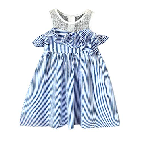 LiLiMeng Toddler Kids Baby Girls Summer Dress Sleeveless Lace Ruffle Stripe Party Pageant Princess Tutu Mesh Wedding Dresses Blue