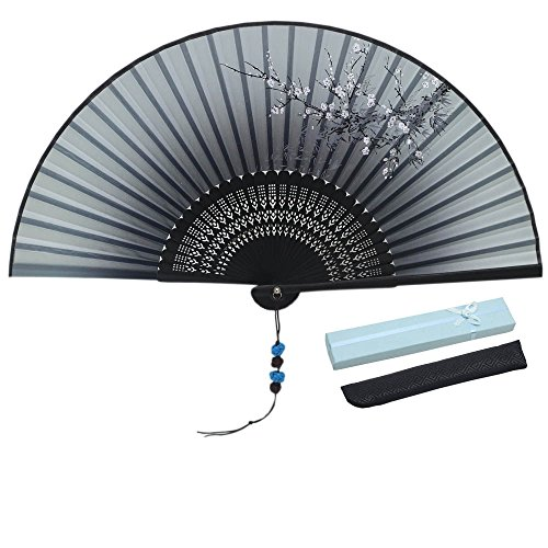 - Jsswb Ink Flowers Painting Ombre Black Ladies Silk Bamboo Fans with Cover Case