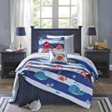 Mi Zone Kids Sealife Twin Kids Bedding Sets for Boys - Blue, Octopus – 6 Pieces Boy Comforter Set – Ultra Soft Microfiber Kid Childrens Bedroom Comforters