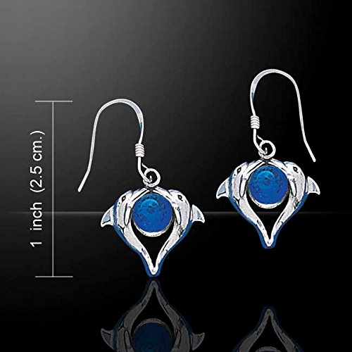 Jewelry Trends Dolphin Love Heart Sterling Silver Dangle Earrings Blue Crystals