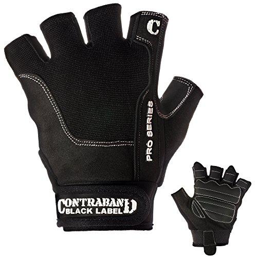 Contraband Black Label 5120 Pro Series Amara Leather Lifting Gloves w/Jar Grip Palm- Durable Light - Medium Padded Amara Leather Gym Gloves - Perfect Classic Lifting Gloves (Pair) (Black, Large)