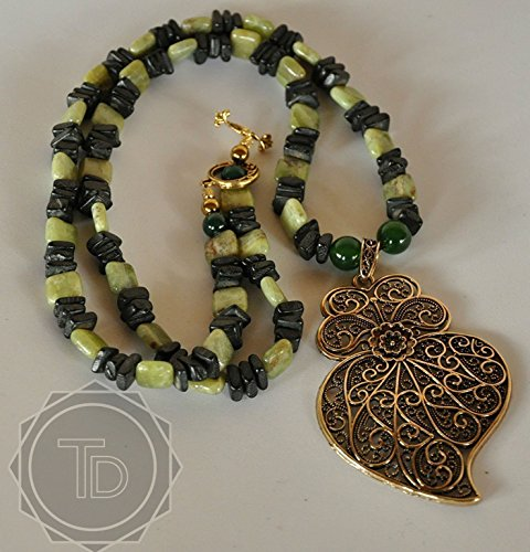 Peridot Beads and Wood Chips Necklace with Portuguese Pendant, one of a kind by TreAssure Design (Triangle Pendant Peridot)