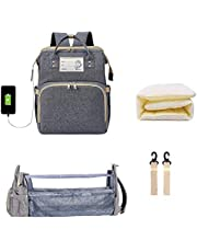 Baby Diaper Backpack with Changing Station - portable diaper bag changing station - Baby diaper bag with USB Charging Port, Stroller Straps - Grey