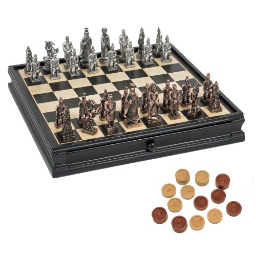Chess & Checkers Game Set - Pewter Chessmen & Black Stained Wood Board with Storage Drawers 15 in. (Ancient Chinese Chess)