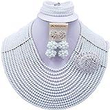 aczuv 16 Rows Women Fashion Costume African Beads Nigerian Necklace Crystal Bridal Wedding Jewelry Sets (White)
