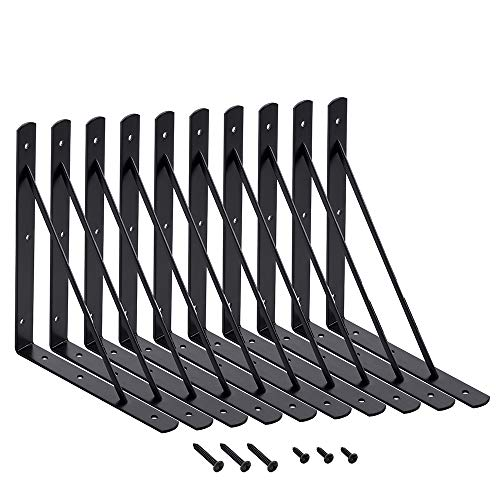 Home Master Hardware 10 x 8 inch Shelf L Brackets Shelf Support Corner Brace Joint Right Angle Bracket Black with Screws 10-Pack (Black)