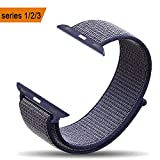 amBand Apple Watch Sport Loop Band 38mm, Lightweight Breathable Nylon Replacement Band for Apple Watch Nike+, Series 1, Series 2, Series 3, Sport, Edition-Midnight Blue