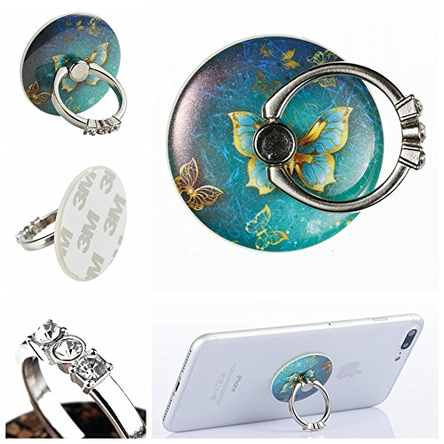Set Butterfly Socket (Bling Finger Ring Stand Holder,New Arrival Kickstand Bling Ring Mount Reusable Smartphone Ring Grip for iPhone 7 7S 8 8 Plus Samsung Galaxy Sony HTC Andoid Phone Ipad and More-Butterfly-2)