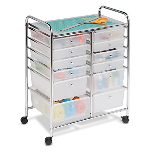 Honey-Can-Do Rolling Storage Cart and Organizer with 12 Plastic Drawers (Chrome Mobile Frame Metal Organizer)