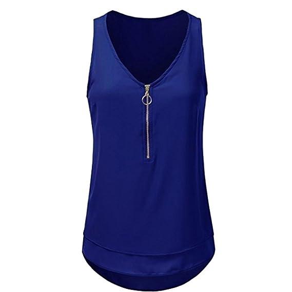 Camiseta sin mangas de la cremallera con cuello en V sin mangas de las señoras calientes