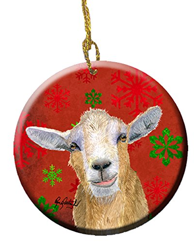 Goat Candy Cane Holiday Christmas Ceramic Ornament ()