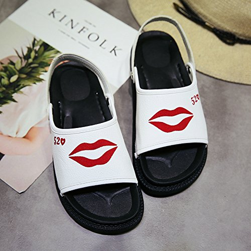 WHLShoes Los chanclas Inferior Dos Moda white Ocio Cómodas Pies Dedos Zapatillas para De La Los Los Grueso Sandalias mujer y Playa Chicas Y El Verano Estudiantes rYcOEprwq