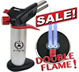DOUBLE FLAME Culinary Torch for Creme Brulee - Best Butane Torch, Kitchen Food Torch, Professional Grade Chefs Blow Torch, Cooks Searing Torch for Cooking and Baking, Delicious Desserts Every time