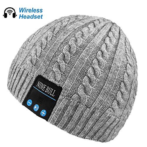 nine bull Bluetooth Beanie Hat, HD Stereo Bluetooth Headphones Wireless Smart Beanie Headset Winter Music Knit Speaker Hat Speakerphone Cap, Built-in Mic (Grey)