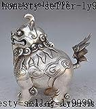 Viet JK Porcelain Crafts 7 - Christmas China fengshui Silver Guardian Door Foo Dog Lion Statue Incense Burner Censer Halloween - by GTIN - 1 PCs