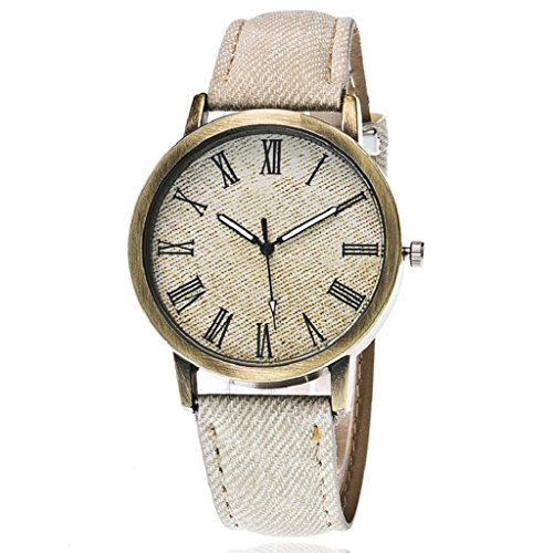 Denim Womens Watch (Quartz Wrist Watch,Hosamtel Couple's Delicate Denim Strap Analog Bracelet Watches (White))