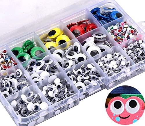 khkadiwb DIY Toys100Pcs Adhesive Wiggly Googly Eyes with Eyelash DIY Craft Accessory Mixed Color 1cm DIY Assembling Beautiful Decor Durable Kids Gift